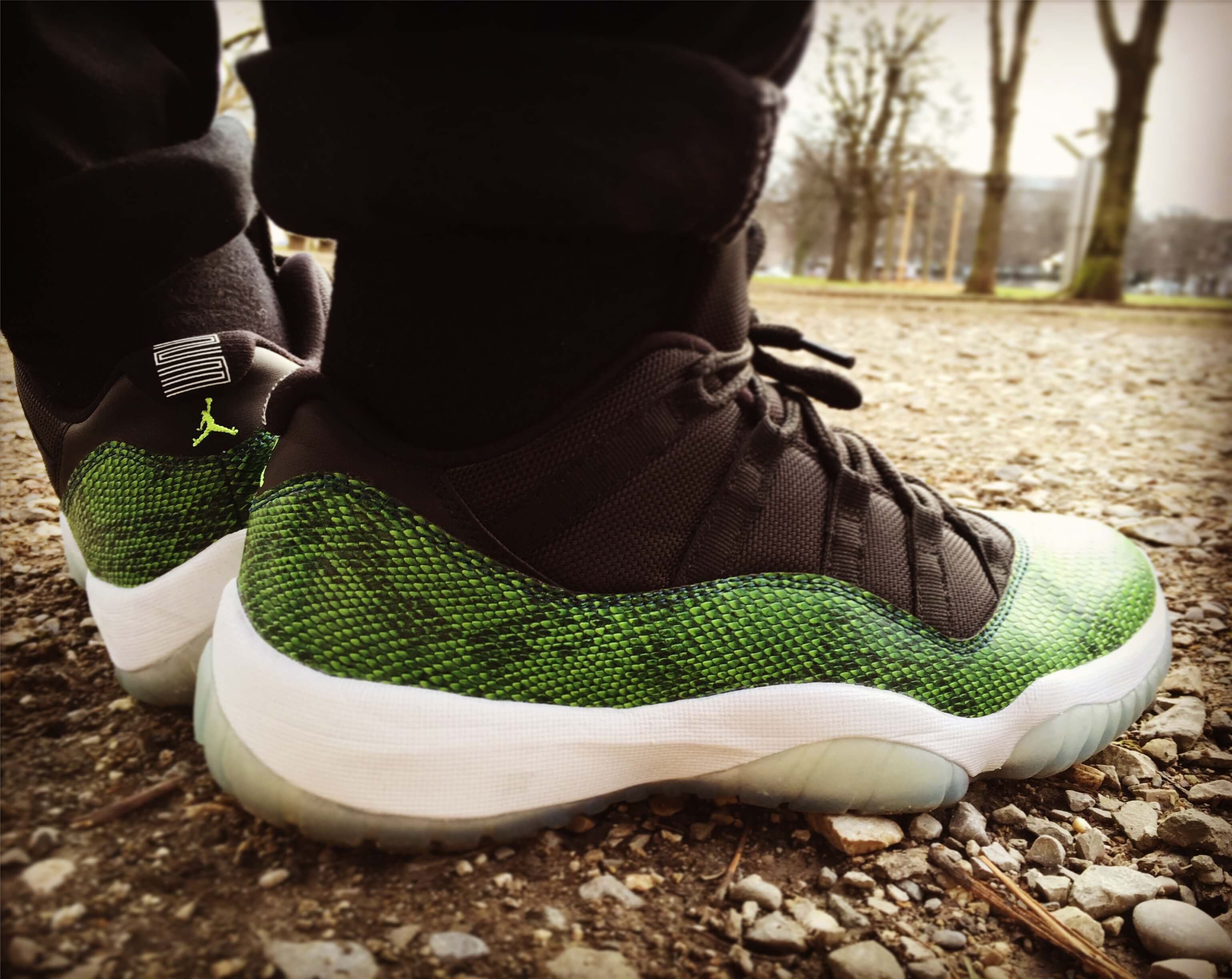 Air-Jordan-11-Low-Green-Snake-Nightshade-Rear-View-Benstah