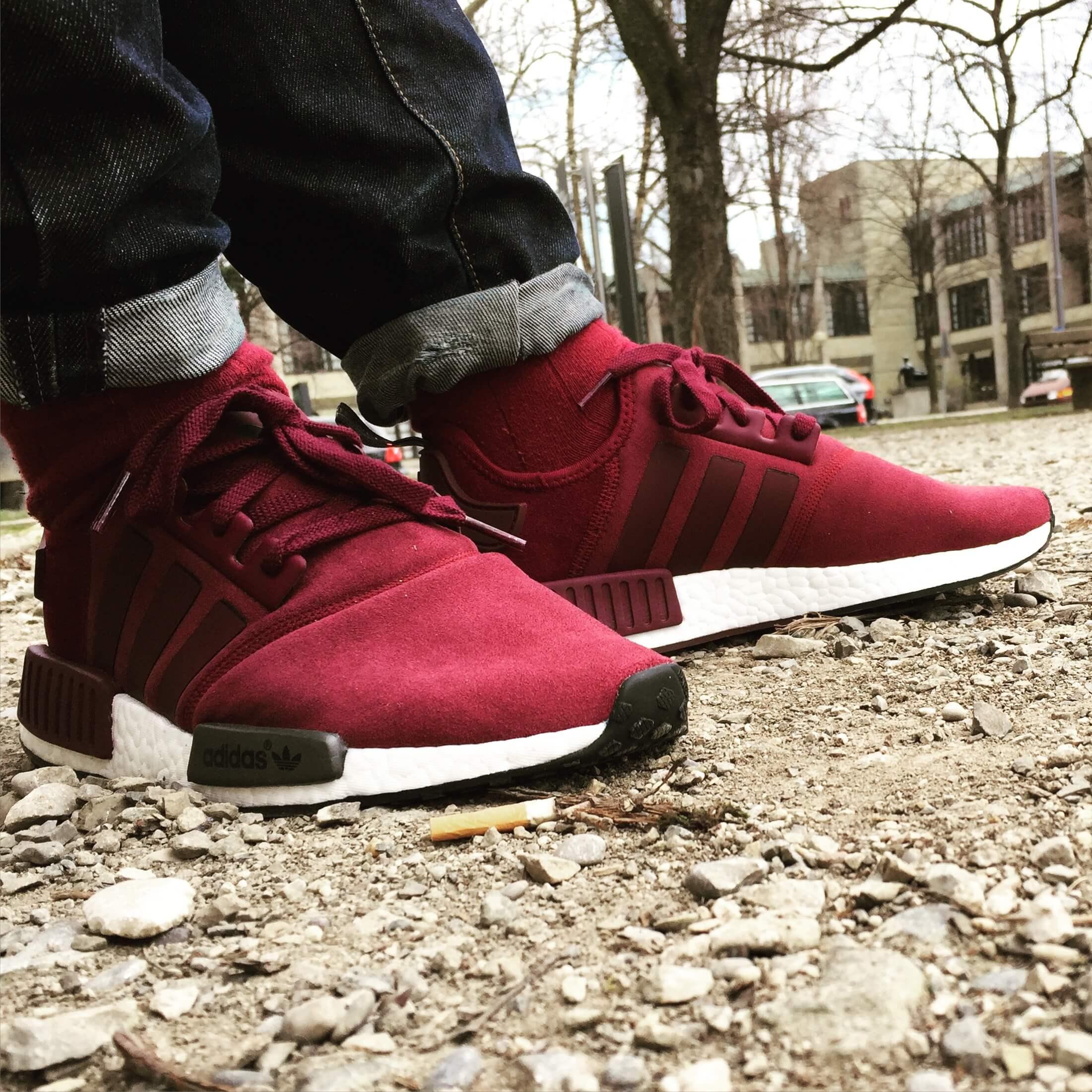 Adidas-NMD-R1-Suede-Side-View-Benstah-Onfeet