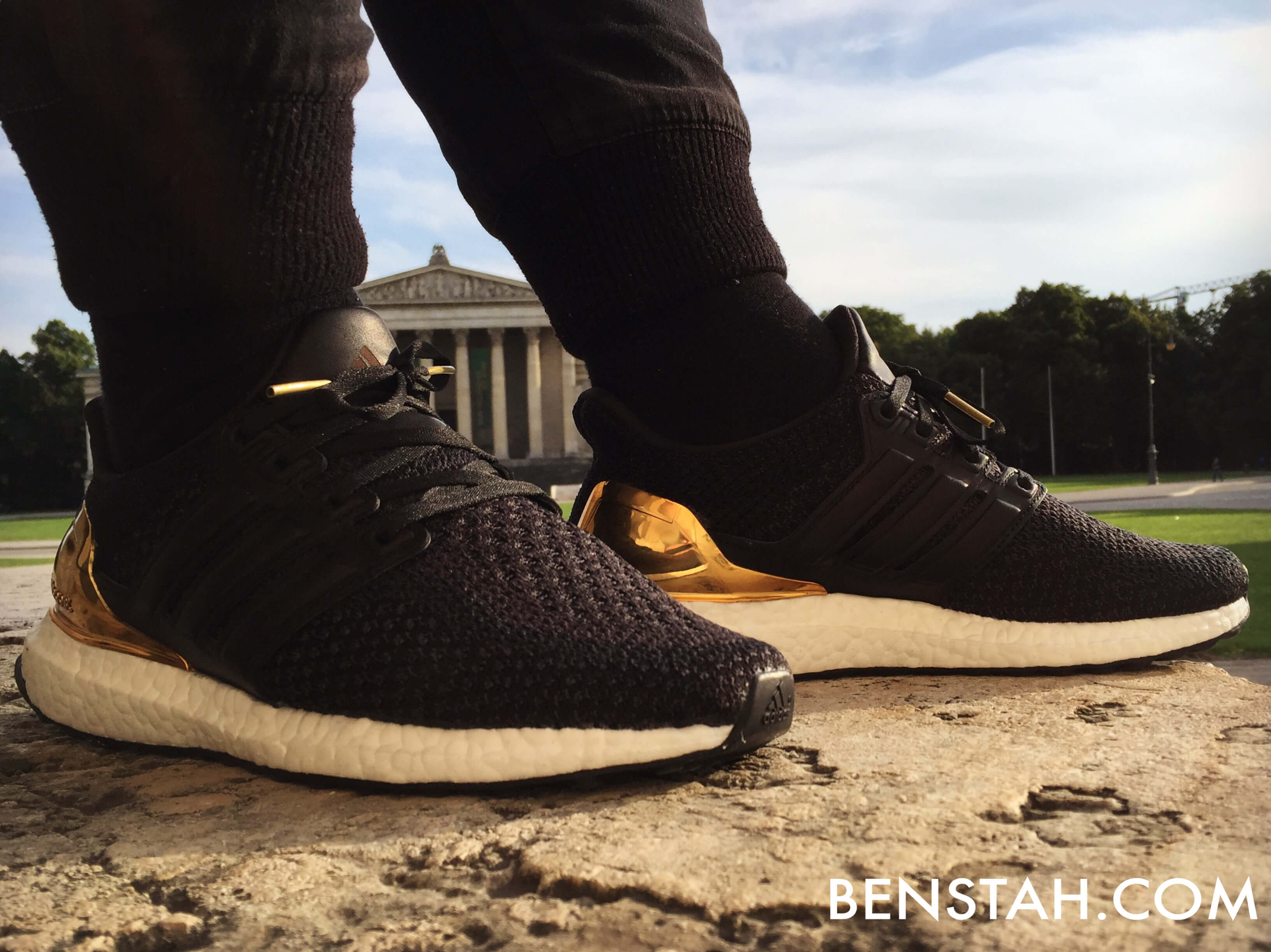 adidas-ultra-boost-gold-medal-angle-view-benstah-onfeet